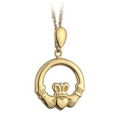 9 Karat Gold Light Claddagh Pendant with Chain Emerald Isle Jewelry.