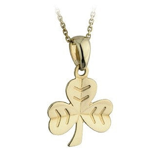9 Karat Gold Shamrock Herringbone Pendant with Chain Emerald Isle Jewelry.