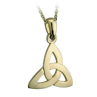 9 Karat Gold Trinity Knot Small Pendant with Chain Emerald Isle Jewelry.