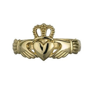 9 Karat Gold Claddagh Pierced Crown Ring Emerald Isle Jewelry.