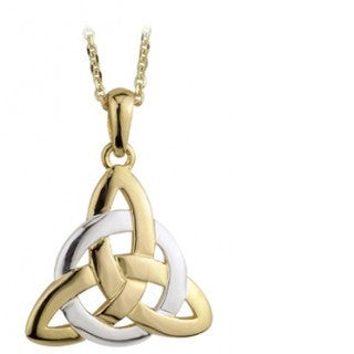 9 Karat Gold Two Tone Trinity Knot Pendant with Chain Emerald Isle Jewelry.