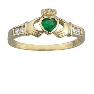 9 Karat Gold Claddagh with Emerald and Cubic Zirconia Synthetic Stones. Emerald Isle Jewelry.
