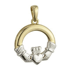 9 Karat Gold Two Tone Claddagh Pendant with Chain Emerald Isle Jewelry.