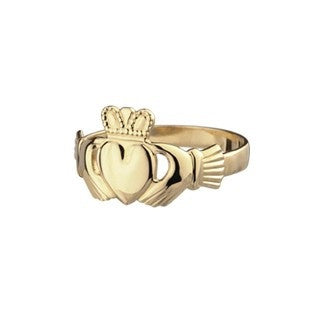 9ct Gold Ladies Claddagh Ring Emerald Isle Jewelry.