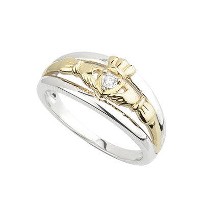 10K Gold and Sterling Silver Claddagh Ring