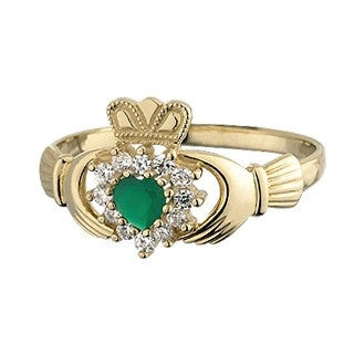 10 Karat Gold CZ & Green Agate Claddagh Ring