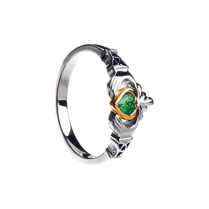 10K Gold, Silver and Emerald Claddagh Ring Emerald Isle Jewelry.