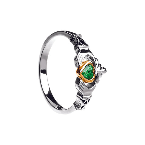 10K Gold, Silver and Emerald Claddagh Ring