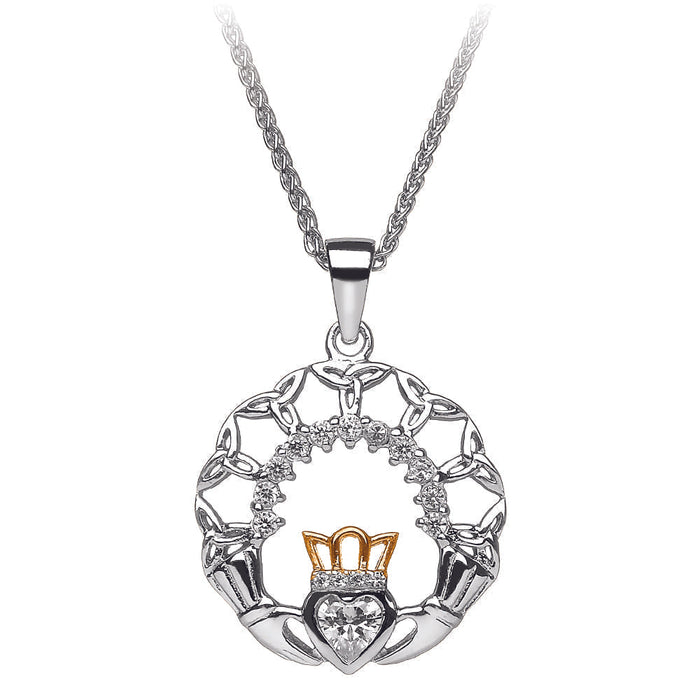 Claddagh and Trinity Silver Pendant Emerald Isle Jewelry.