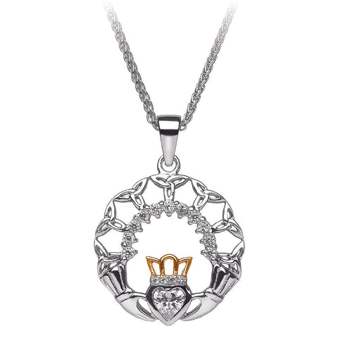 Claddagh and Trinity Silver Pendant
