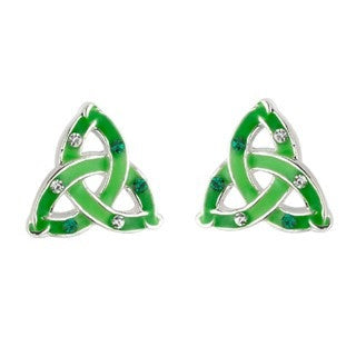 Crystal & Green Enamel Trinity Stud Earrings