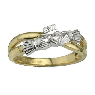 Diamond Claddagh Ring | 14 Karat Gold | Made in Ireland