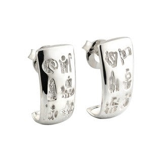 Domed Style History of Ireland Sterling Silver Earrings