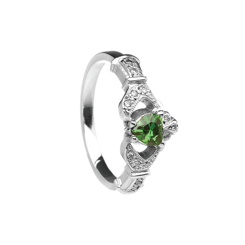 Diamond and Emerald Claddagh Ring