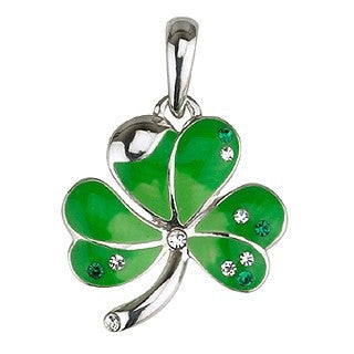 Green Enamel and Crystal Shamrock Pendant with Chain
