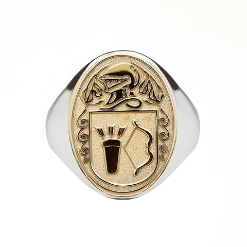Family Coat Of Arms Ring | Heavy Solid Back