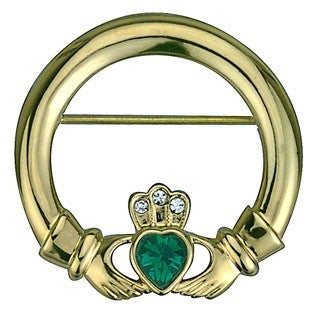 Gold Plated Claddagh Brooch Emerald Isle Jewelry.