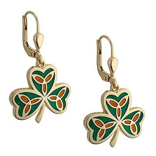 Gold Plated Celtic Design Shamrock Earrings Emerald Isle Jewelry.