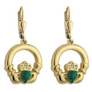 Gold Plated Emerald Claddagh Drop Earrings