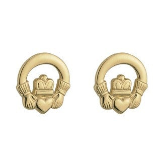 Gold Plated Claddagh Stud Earrings