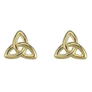 Gold Plated Trinity Stud Earrings Emerald Isle Jewelry.