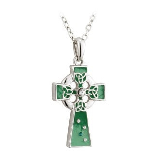 Green Enamel Crystal Celtic Cross Pendant with Chain Emerald Isle Jewelry.