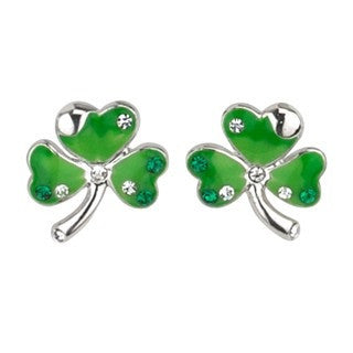 Shamrock Earrings Crystal Studs Emerald Isle Jewelry.