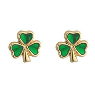 Gold Plated Stud Green Enamel Shamrock Earrings Emerald Isle Jewelry.