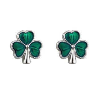 Green Enamel Shamrock Stud Earrings