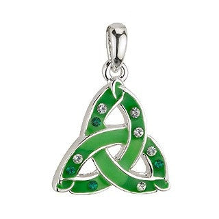 Green Enamel and Crystal Trinity Pendant with Chain Emerald Isle Jewelry.