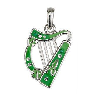 Green Enamel and Crystal Harp Pendant with Chain Emerald Isle Jewelry.