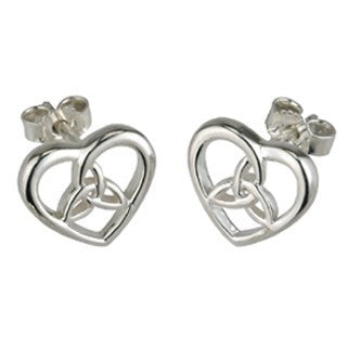 Sterling Silver Heart and Trinity Stud Earrings