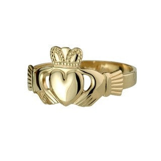 9 CT Gold Extra Heavy Puffed Heart Ladies Claddagh Ring Emerald Isle Jewelry.