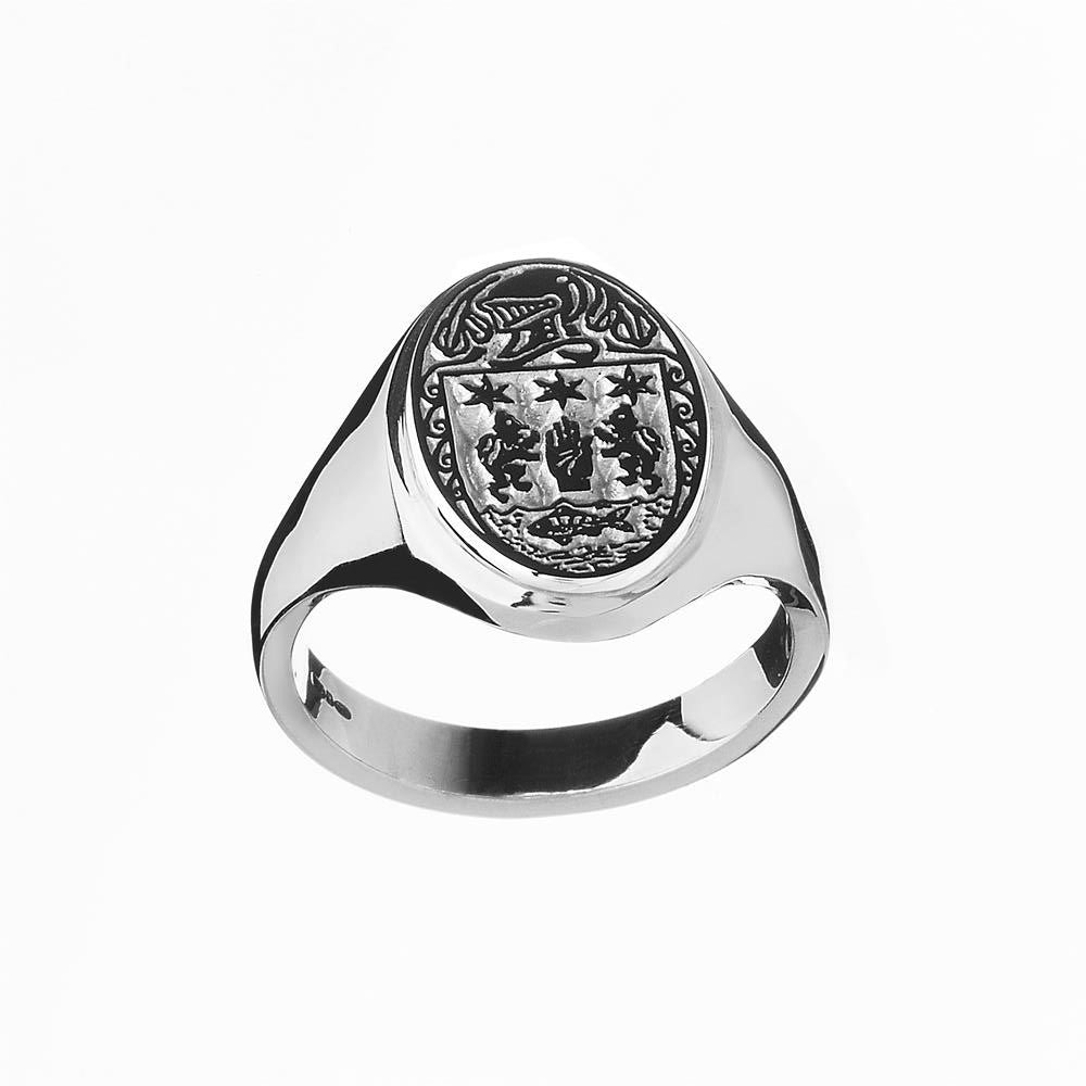 Ladies Heavy Oval Family Crest Ring | Clan Ring Emerald Isle Jewelry.