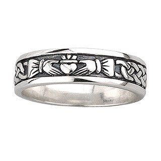 Ladies Sterling Silver Oxidised Claddagh Ring