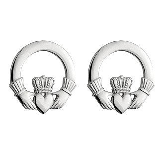 Large Sterling Silver Claddagh Stud Earrings Emerald Isle Jewelry.