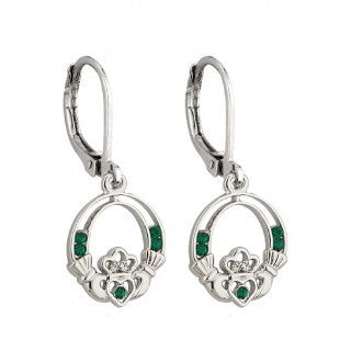Claddagh Drop Earrings with Green Crystals