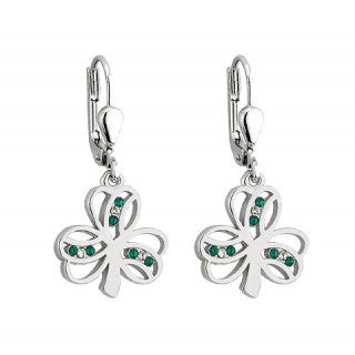 Rhodium Plated Crystal Shamrock Stud Earrings