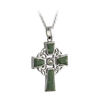 Sterling Silver Marcasite and Connemara Marble Celtic Cross with Chain Emerald Isle Jewelry.