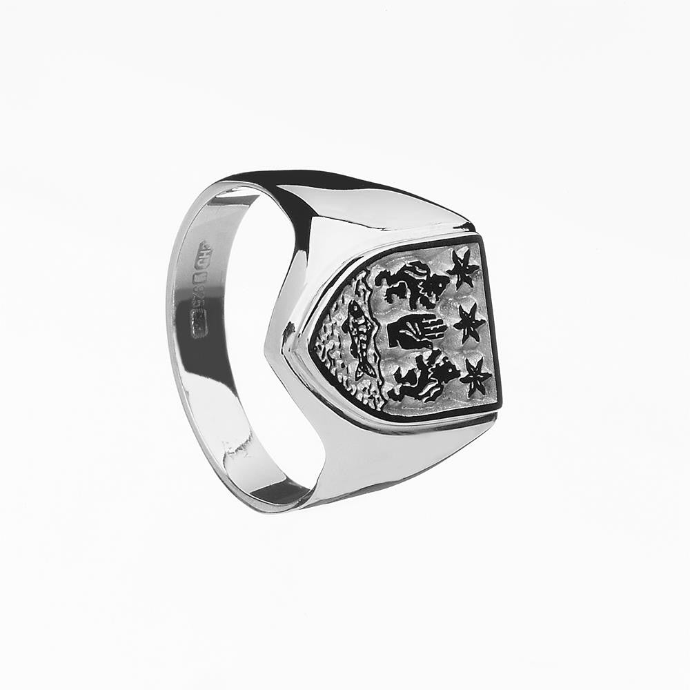 Mens Family Crest Ring | Shield Ring Emerald Isle Jewelry.