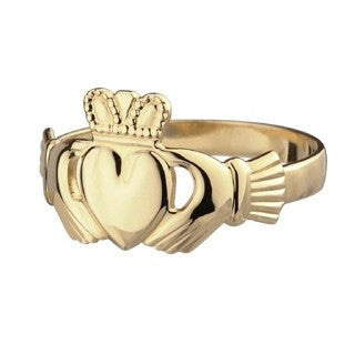 Mens Gold Claddagh Ring | 10CT Heavy Gold Ring Emerald Isle Jewelry.