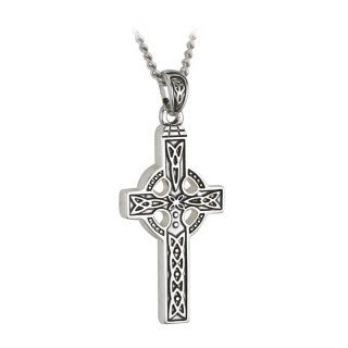 Pewter Celtic Cross with Chain Emerald Isle Jewelry.