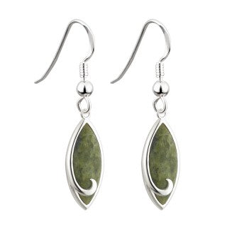 Rhodium Connemara Marble Drop Earrings Emerald Isle Jewelry.