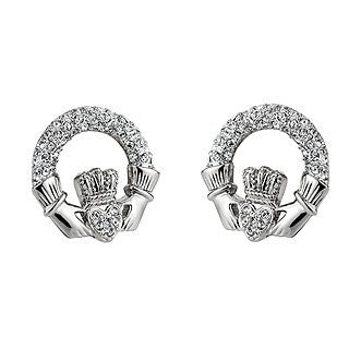 Rhodium Plated Claddagh Stud Crystal Earrings