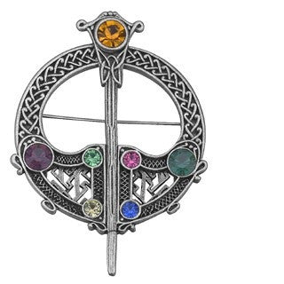 Large Tara Celtic Brooch Rhodium Plated Emerald Isle Jewelry.