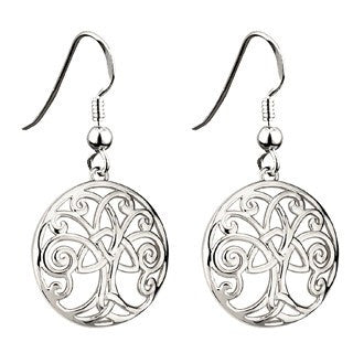 Rhodium Plated Celtic Tree of Life Drop Earrings