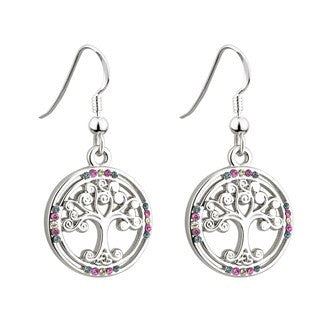 Rhodium Plated Tree of Life Crystal Earrings Emerald Isle Jewelry.
