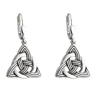 Rhodium Plated Trinity Knot Earrings Emerald Isle Jewelry.