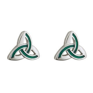 Trinity Stud Earrings - Rhodium Plated Emerald Isle Jewelry.
