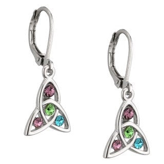 Rhodium Plated 4 Stone Celtic Drop Earrings